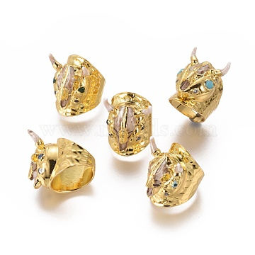 Adjustable Resin Cuff Finger Rings, with Brass Findings, Cow Head Shape, Golden, Size 7~8, 17~18mm(RJEW-K229-L01)