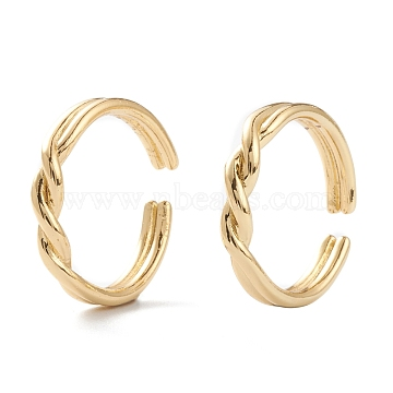 Brass Cuff Rings, Open Rings, Long-Lasting Plated, Twist, Real 18K Gold Plated, Inner Diameter: 17mm(RJEW-H131-02G)