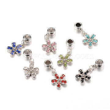 30mm Flower Alloy+Rhinestone Dangle Beads
