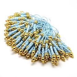 Планки мобильного телефона для оборванных шармов, Сделай сам сотовый телефон петля плетеный нейлоновый шнур, с концами золотой латуни мозга, светло-голубые, 70 мм(MAK-A007-03)