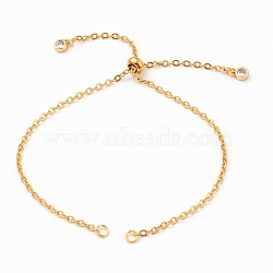 Adjustable 304 Stainless Steel Cable Chain Slider Bracelet/Bolo Bracelets Making, with Brass Cubic Zirconia Charms, Golden, Single Chain Length: about 5-1/4 inches(13.3cm)(X-AJEW-JB00780-02)