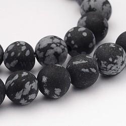 """Perles naturelles de pierres précieuses en obsidienne, mat, rond, 8mm, trou: 1mm; environ 48 pcs/chapelet, 14.9""""(G-J338-03-8mm)"""