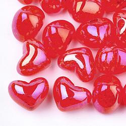Perles en acrylique transparentes craquelées, demi-percés perles, cœur, cramoisi, 14.5x18x13mm, demi-trou: 3.5 mm(TACR-S148-04F)