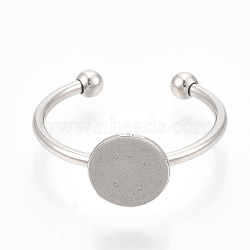 304 Stainless Steel Cuff Finger Rings Components, Pad Ring Base Findings, Flat Round, Stainless Steel Color, Tray: 8mm; Size 7, 17mm(X-STAS-T047-18)