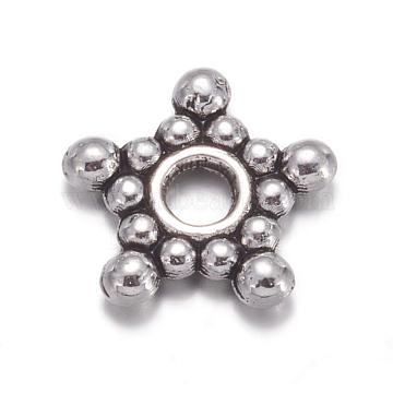 Antique Silver Tone Star Tibetan Style Spacer Beads, Lead Free & Cadmium Free, about 8.8 wide, 2.2mm thick, Hole: 2mm(X-AA121)