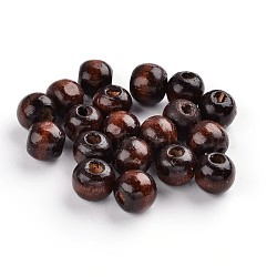 des billes de bois, les perles d'espacement, pour les bijoux de chapelet en macramé bricolage, sans plomb, arrondir, teints, brun, 7x6 mm, trou: 3 mm(X-WOOD-S612-3-LF)
