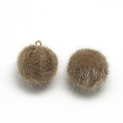 Charmes couverts de fausse fourrure de vison, avec les accessoires en laiton de tonalité d'or, rond, chameau, 14x10mm, Trou: 1.5mm(X-WOVE-S084-36A)