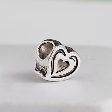 Antique Silver Heart Alloy European Beads