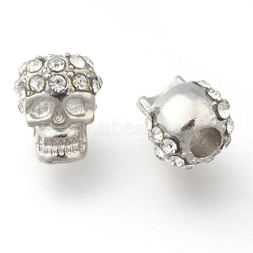 Zinc Alloy Beads, with Rhinestone, Halloween, Skull, Platinum, 12x8mm, Hole: 3mm(RB-H143-1)