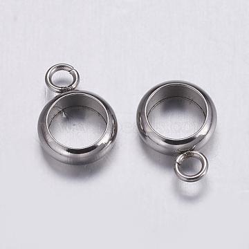 304 Stainless Steel Hanger Links, Ring, Stainless Steel Color, 10x7x2.5mm, Hole: 2mm; Inner Diameter: 5mm(X-STAS-K146-050-5mm)