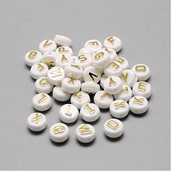 Perles acryliques plaquées, métal doré enlaça, style alphabet, plat rond, or, 9.5~10x6mm, trou: 2 mm; environ 1700 pcs / 500 g(SACR-S297-11)