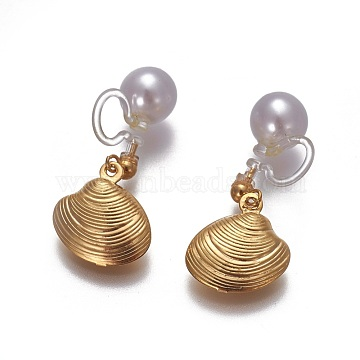 Stainless Steel Clip-on Earrings, with Acrylic Pearls, Environmental Resin, Shell, Golden, 21mm(EJEW-F196-04G-A)