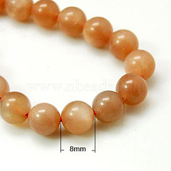 Natural Sunstone Beads Strands, Grade A,  Round, Chocolate, 8mm, Hole: 1mm