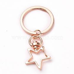 Iron Star Keychain, with Alloy Split Key Rings, Rose Gold, 6.9cm(X-KEYC-JKC00231-03)