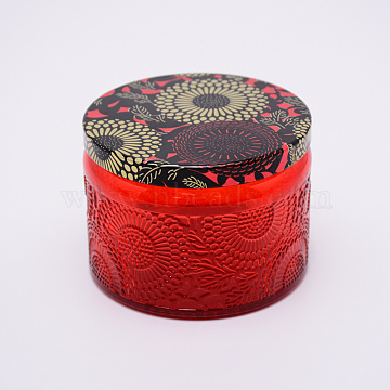 Glass Storage Box, Container for Jewelry, Aromatherapy Candle, Candy Box, with Slip-on Lid, Flower Pattern, Red, 71x52mm(CON-WH0072-27A)