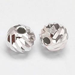Perles fantaisie rondes à facettes 925 en argent sterling, argent, 8 mm, trou: 1.5 mm(X-STER-F012-11D)
