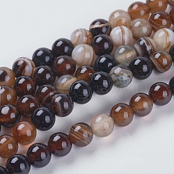 Round Dyed Natural Striped Agate/Banded Agate Beads Strands, SaddleBrown, 6mm, Hole: 1mm; about 62pcs/strand, 14.8