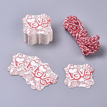 Paper Gift Tags, Hange Tags, For Arts and Crafts, with Cotton Cords, for Valentine's Day, Square with Word Love, White & Red, 45x45x0.5mm; 50pcs/set(CDIS-L004-A02)