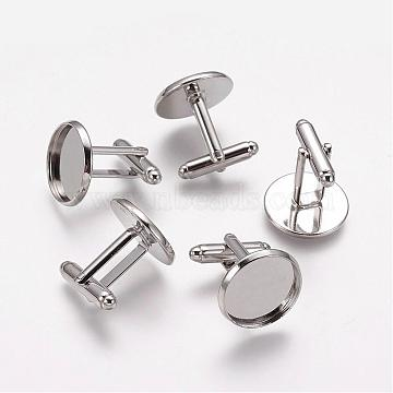 Brass Cufflinks, Rack Plating, Platinum Color, Size: about 7mm wide, 27mm long, 4mm thick, tray: 18mm in diameter, 16mm inner diameter(KK-Q187-N)
