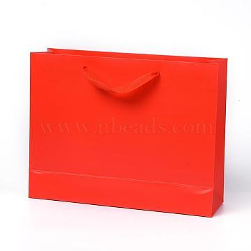 Sacs en papier kraft, avec poignées, sacs-cadeaux, sacs à provisions, rectangle, rouge, 21x27x8.1 cm(AJEW-F005-04-B)