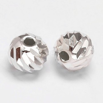 Fancy Cut Faceted Round 925 Sterling Silver Beads, Silver, 8mm, Hole: 1.5mm(X-STER-F012-11D)