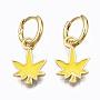Yellow Leaf Brass Earrings(EJEW-T014-28G-06-NF)
