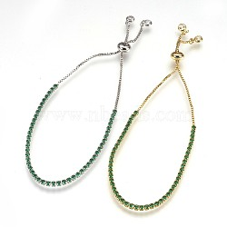 bracelets de bolo en laiton de l'environnement, bracelets de slider, avec zircons, sans plomb et sans cadmium et sans nickel, vert, 1-1 / 8 (3.1 cm) ~ 2-1 / 2 (6.5 cm); 1~2 mm(BJEW-P225-01M-04-NR)