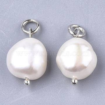 Natural Cultured Freshwater Pearl Pendants, with Brass Findings, Platinum, Creamy White, 16x10~11mm, Hole: 3mm(X-PEAR-Q013-01B)