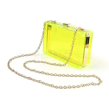 Acrylic Women's Transparent Bags Crossbody Bags, with Iron Chains Shoulder Strap, for Work, Events, Makeup Sturdy Transparent Pocketbook, Rectangle, Yellow, 12x18.3x5.4cm(AJEW-C004-01F)