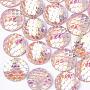 cmолы кабошонов, аб-цветный, плоский круглый с рыбой русалки, розовый, 12x3 mm