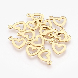 304 Stainless Steel Open Charms, for DIY Jewelry Making, Heart, Golden, 10.5x14x1mm, Hole: 1.2mm