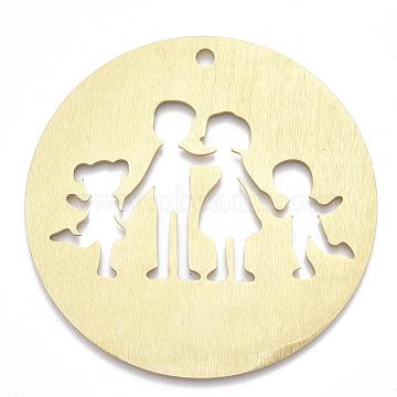 Aluminium Big Pendants, Laser Cut Big Pendants, Flat Round with Family, Golden, 78x1mm, Hole: 4mm(ALUM-T001-28G)