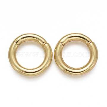Brass Twister Clasps, Long-Lasting Plated, Ring, Real 18K Gold Plated, 14x2.5mm; Inner Diameter: 9mm(KK-F821-01A-G)