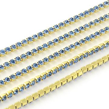Nickel Free Raw(Unplated) Brass Rhinestone Strass Chains, Rhinestone Cup Chain, 2880pcs rhinestone/bundle, Grade A, Light Sapphire, 2.2mm, about 23.62 Feet(7.2m)/bundle(CHC-R119-S6-07C-1)