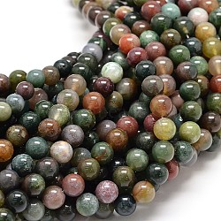 Natural Indian Agate Round Bead Strands, 10mm, Hole: 1mm; about 40pcs/strand, 15.5inches