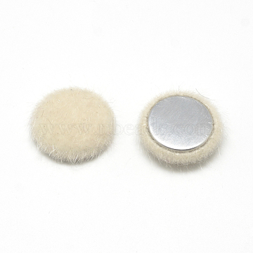 Faux Mink Fur Covered Cabochons, with Aluminum Bottom, Half Round/Dome, Beige, 19~20x6mm(X-WOVE-S084-18E)