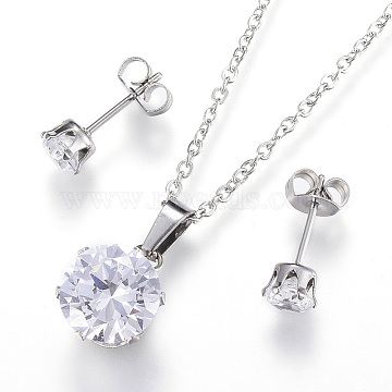 304 Stainless Steel Jewelry Sets, Pendant Necklaces and Stud Earrings, with Cubic Zirconia, Flat Round, Stainless Steel Color, 17.7 inches(45cm), 5mm, Pin: 0.8mm(X-SJEW-H054-05)