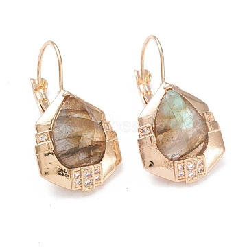 Natural Labradorite Leverback Earrings, with Golden Plated Brass Findings and Clear Cubic Zirconia, Faceted, Teardrop, 32mm, Pin: 0.9mm, Pendants: 20x16.5x5mm(EJEW-I247-01D)