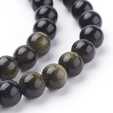 Natural Golden Sheen Obsidian Beads Strands(X-G-C076-8mm-5)-3