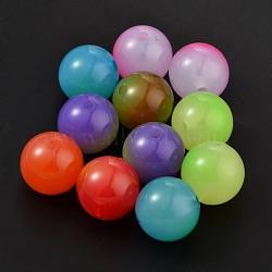 Бусины из cмолы, круглые, разноцветные, 22 мм, отверстие : 4 мм(X-RESI-J003-22mm-M)