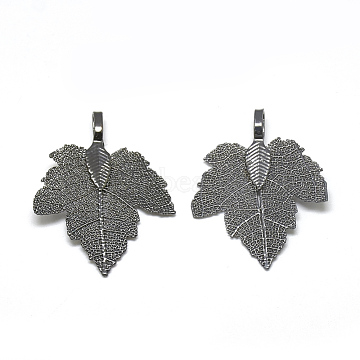 Iron Pendants, Electroplate Natural Leaf, Grape Leaf, Gunmetal Plated, 35x27x1.5mm, Hole: 3x5.5mm(X-IFIN-T006-17B)