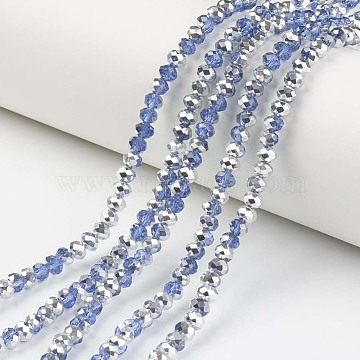 "Electroplate Transparent Glass Beads Strands, Half Silver Plated, Faceted, Rondelle, SteelBlue, 10x8mm, Hole: 1mm; about 62pcs/strand, 22.05""(56cm)(EGLA-A034-T10mm-M03)"