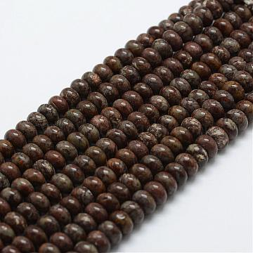 Natural Red Snowflake Obsidian Beads Strands, Rondelle, 6x4mm, Hole: 1mm; about 96~97pcs/strand, 15.3 inches(39cm)(G-G665-14-6x4mm)