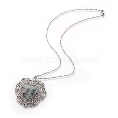 Natural Sesame Jasper/Kiwi Jasper Pendant Necklaces(NJEW-P242-A07)-2