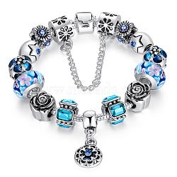 Bracelets européens en laiton, avec des perles de Murano exquis et perles antiques en alliage d'argent, fleur, bleu, 180mm(BJEW-FF0001-102-18cm)