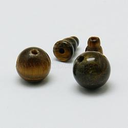 Tigre naturel oeil perles bouddhistes, 3 perles trou gourou, perles t-percées, grade AB,  accessoires de bijoux bouddha, darkgoldenrod, oeil de tigre, rond: 10 mm, trou: 1~2 mm; bouchon: 8x6 mm, Trou: 1~2mm(G-M011-01B)