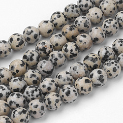 Dalmatien naturel Jasper brins de perles, rond, 8~8.5mm, trou: 1mm; environ 45~47 pcs/chapelet, 14.9'' (38 cm)(G-G735-68-8mm)