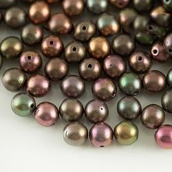Perles de verre tchèques, rond, colorées, 6mm, trou: 0.8 mm; environ 35 pcs / 10 g(X-GLAA-F101-D01)