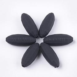 perles acryliques de style caoutchoutées, facettes, ovale, noir, 31x12x12 mm, trou: 2.5 mm(MACR-T026-10E)