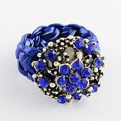 Anneaux de fleurs personnalisés, anneaux de strass en alliage, avec imitation cordon en cuir, bleu, 16~17mm(RJEW-PJR007-B-3)